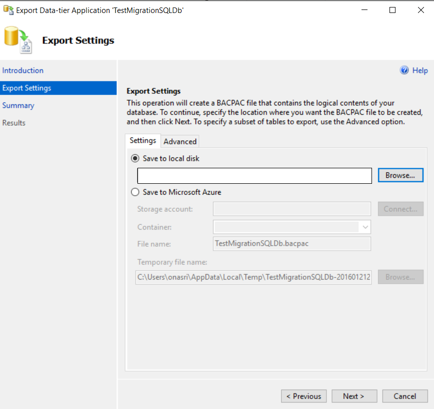 how to create bacpac file from sql server
