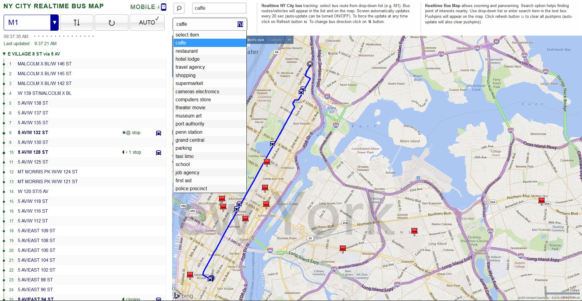 M1 Bus Route New York Fig 1b NY City real time bus map  tracking cPtOJVeb