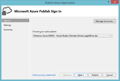 Azure Cloud Service Visual Studio Create