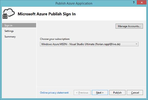 Azure Cloud Service Visual Studio Create