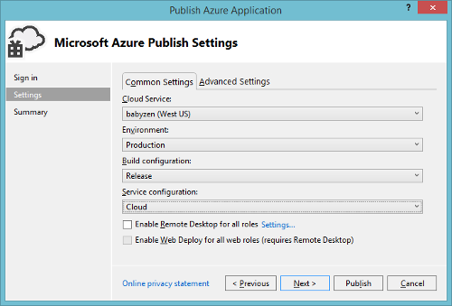Azure Cloud Service Visual Studio Settings