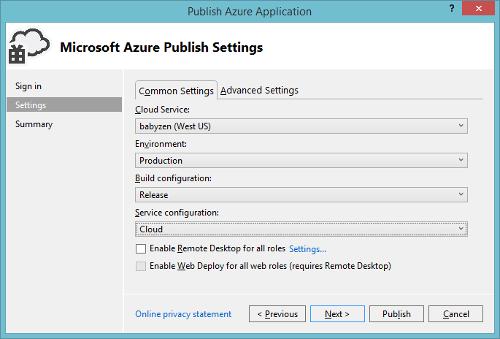 Azure Cloud Service Visual Studio Settings