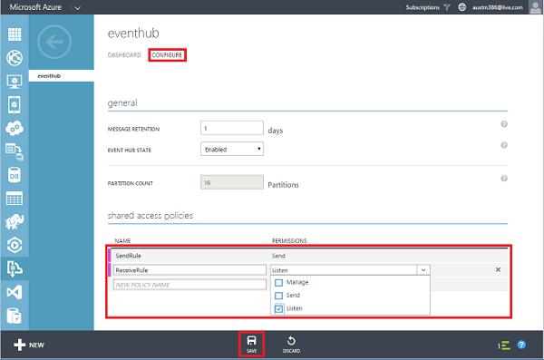 Configure Microsoft Azure Event Hubs