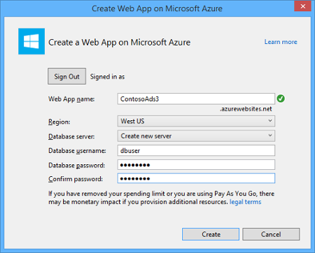 Microsoft Azure SQL Visual Studio Create