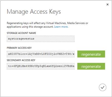 Microsoft Azure Storage Keys Manage