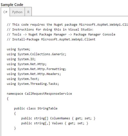Azure Machine Learning Info API Web