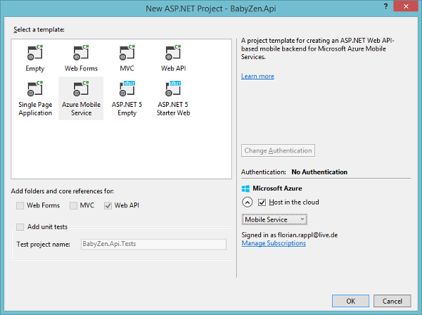 Microsoft Azure Mobile Services Visual Studio Project