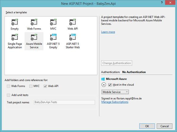 Microsoft Azure Mobile Services Visual Studio Project