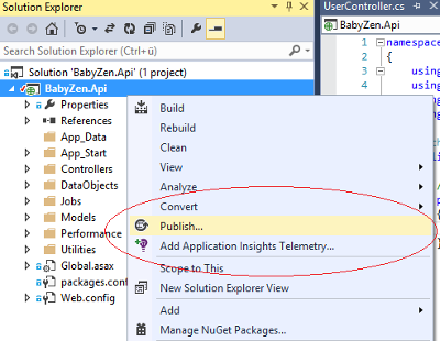 Microsoft Azure Mobile Services Publish Visual Studio