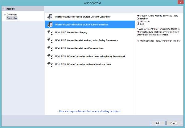 Microsoft Azure Mobile Service Add Table Controller