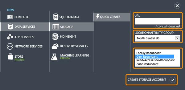 Microsoft Azure Storage Create Portal