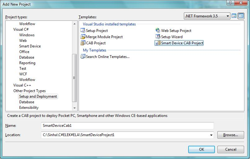 Create a Smart Device CAB project for deployment
