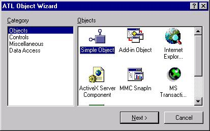 The New ATL Object Wizard with Simple COM Object selected.