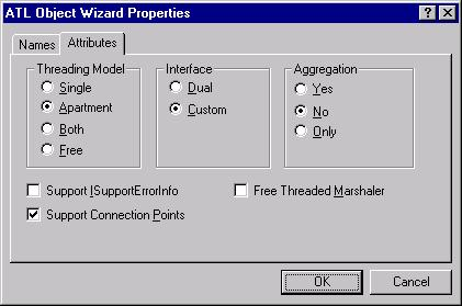 The Attributes tab of the ATL Object Wizard Properties dialog when we're done changing settings.