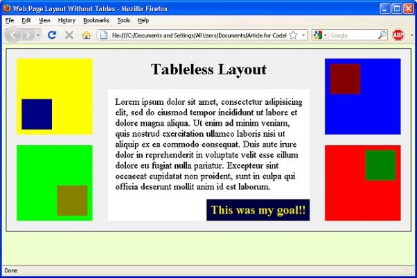 Tableless Layout Screenshot