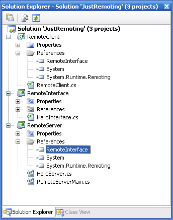 JustRemoting solution showing project references