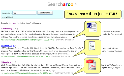 Search Word, PDF, Text and more (as well as HTML)