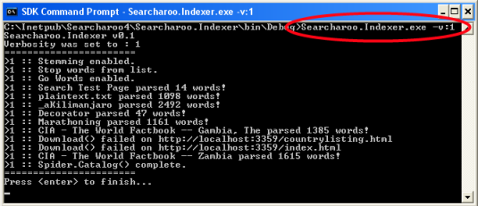 Command line application (running) Searcharoo.Indexer.exe -v:1