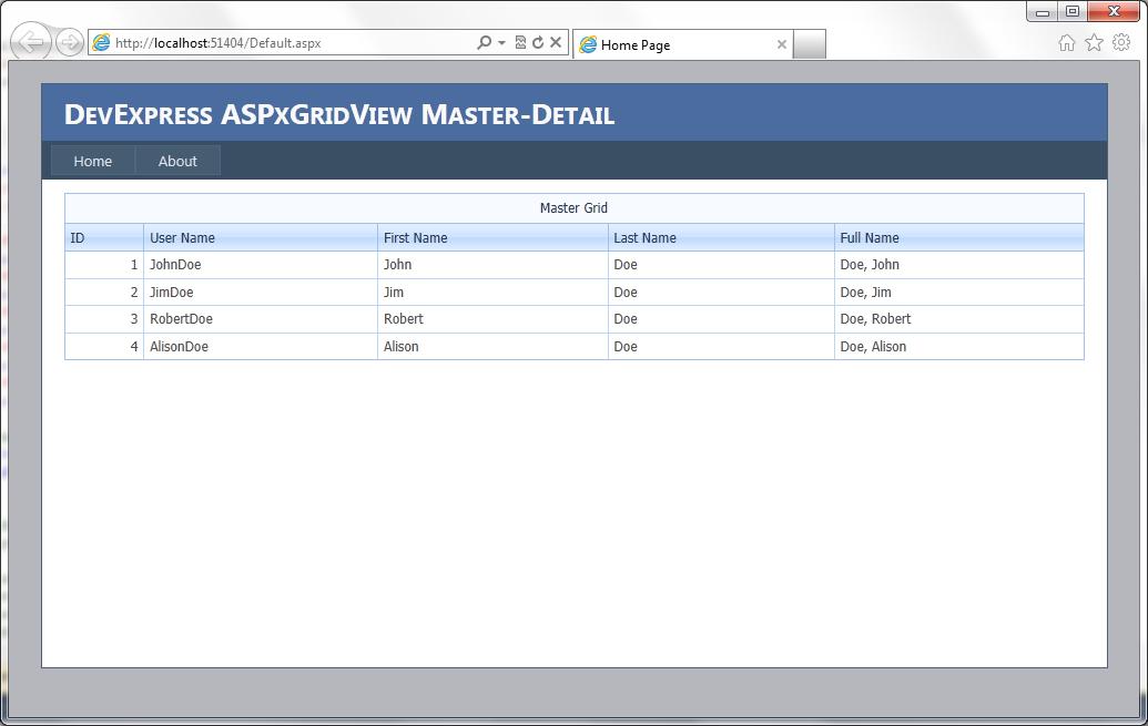 ASPxGridView master-detail data presentation with context menus | lingkb