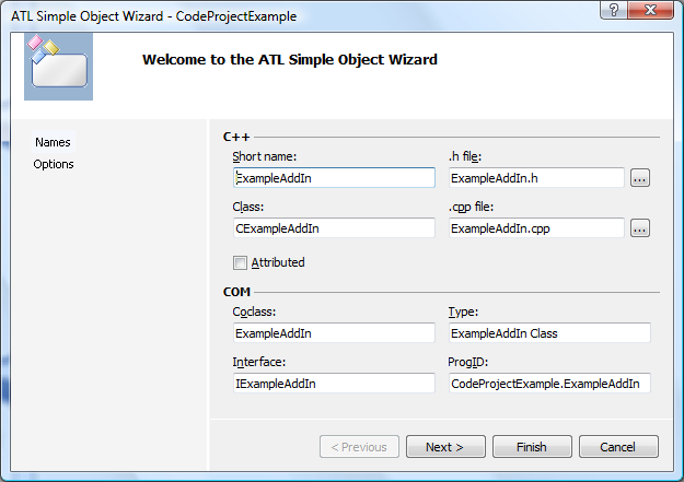 ATL Simple Object Wizard