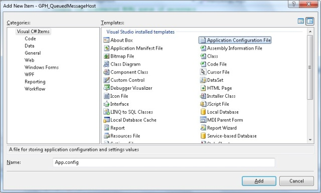 Add Application Configuration Fileto the Project