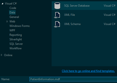 Add New SQL Server Database to Visual Studio Project