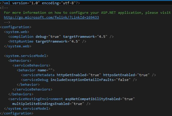 Tweet.WebService Project Updated Web.Config Screen-shot