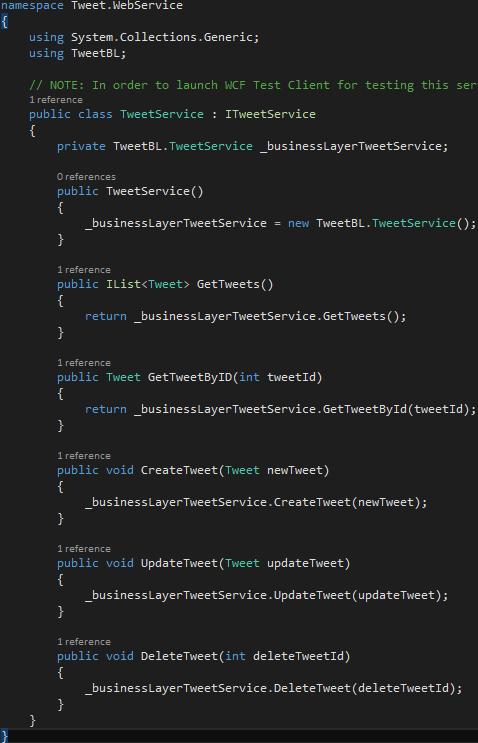 Project Tweet.WebService - Class TweetService.svc.cs implemented methods Screen-Shot