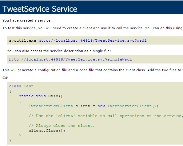 Project Tweet.WebService - Class TweetService.svc.cs generated html page Screen-Shot
