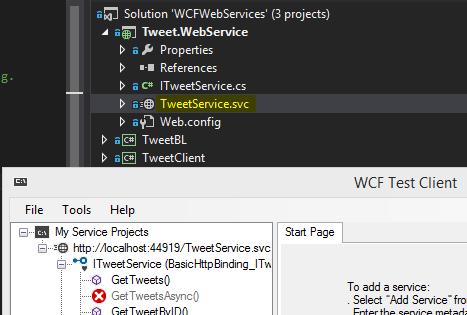 Tweet.WebService Project - WCF Test Client Launch Screen-Shot