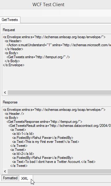Tweet.WebService Project - WCF Test Client XML Tab Screen-Shot