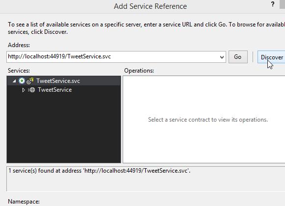 TweetClient Project - Discover Button Screen-Shot