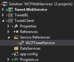 TweetClient Project - Service reference added Screen-Shot