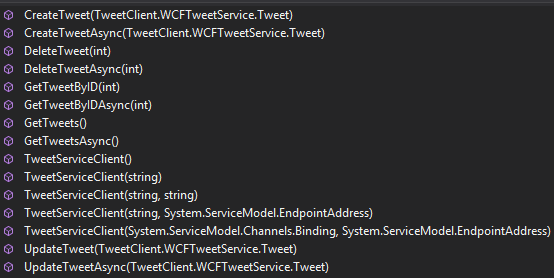 TweetClient Project - Object Browser TweetServiceClient Methods Screen-Shot