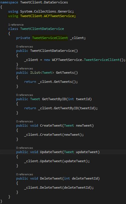 TweetClient Project - TweetClientDataService Class Implementation Screen-Shot