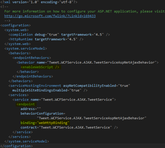 Tweet.WCFService.AJAX Web.Config Screen-shot