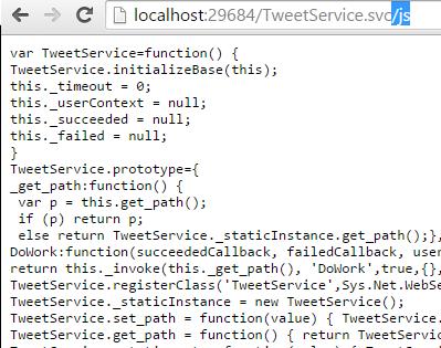 Tweet.WCFService.AJAX Default Generated Proxy Screen-shot