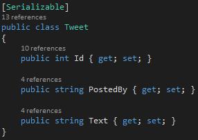 Tweet.cs Class Screen-shot
