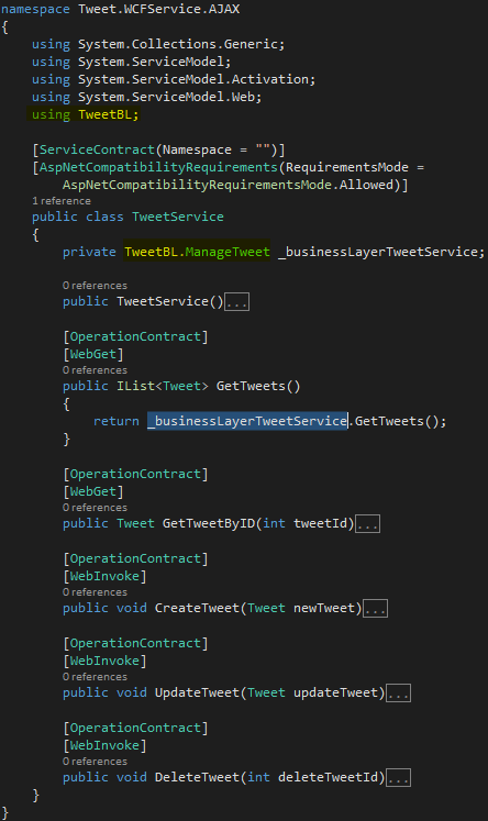 Tweet.WCFService.AJAX Project TweetService.svc after Business Code added Screen-shot