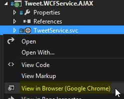 Tweet.WCFService.AJAX Project TweetService.svc GetTweets Method Call Running Service Screen-shot