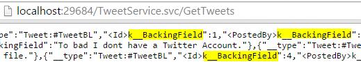 Tweet.WCFService.AJAX Project TweetService.svc GetTweets Method unformated result Screen-shot