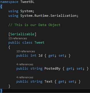 TweetBL Project Tweet.cs DataMember Attribute Missing Screen-shot