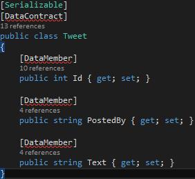TweetBL Project Tweet.cs DataMember Attribute Added Serilaization Namespace missing Screen-shot