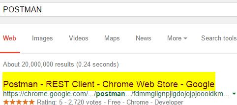 POSTMAN Search Screen-shot