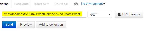POSTMAN Tweet.WCFService.AJAX Project TweetService.svc CreateTweet URL Method run Screen-shot