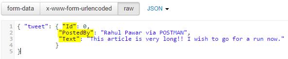 POSTMAN CreateTweet Call JSON body Screen-shot