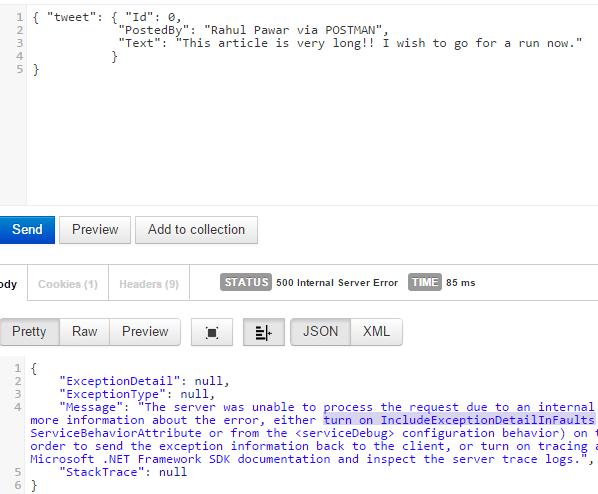 POSTMAN Error Screen-shot
