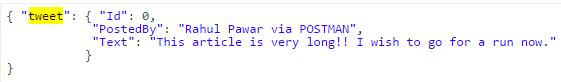 POSTMAN CreateTweet JSON request Object Name Screen-shot