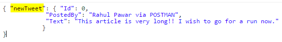 POSTMAN CreateTweet JSON request Object Corrected Name Screen-shot