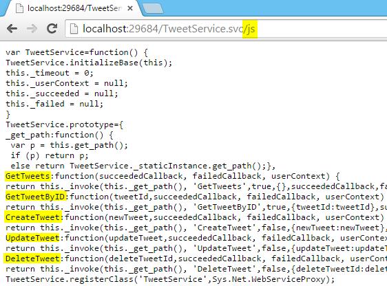 JavaScript Service Proxy.. re-generated Screen-shot
